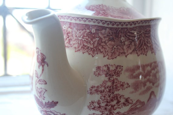 Stunning tea/ coffee pot and lid. Scenery pattern, by Arabia Finland.
