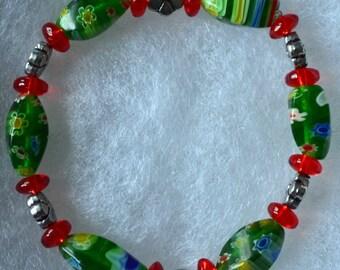 Red Green Flower Bracelet