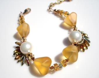 Gold and Pearl Fantasy Bracelet
