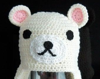 Relax Bear Hat, Rilakkuma, Crochet Baby Hat, Animal Baby Hat, Cream, Brown, photo prop, Inspired by Rilakkuma