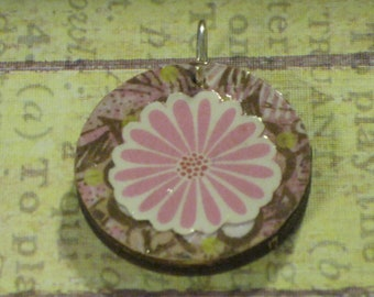 Pink Flower Decoupage on Pink and Green Patterned Paper Round Wood Pendant