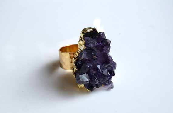 Amethyst Cluster Druzy Ring. Gold Dipped Cocktail Ring