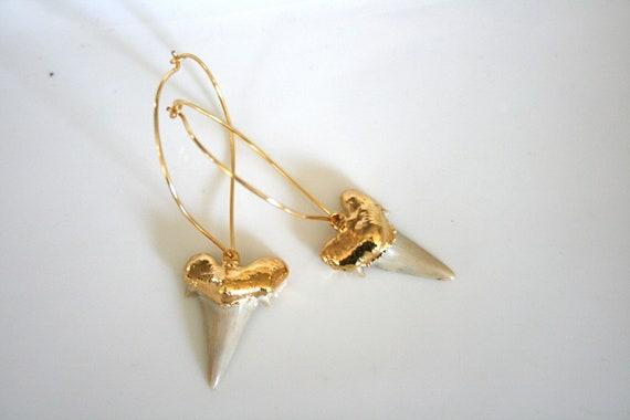 Gold Shark Tooth Earrings. Lotus Petal Hoop