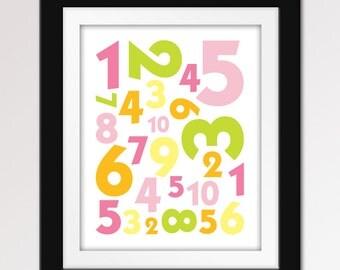 Numbers Nursery Art. Numbers 123 Print.  - 8x10 Nursery Print