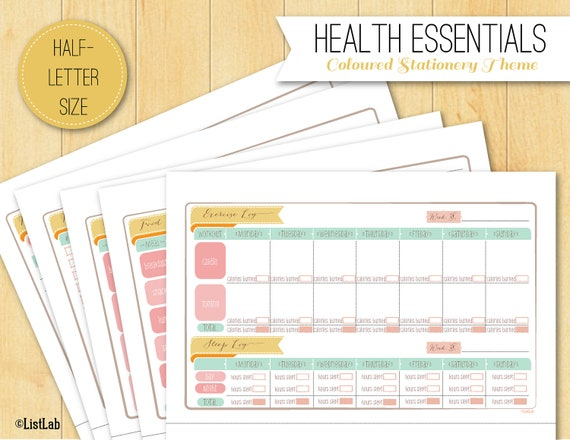 Half-letter HEALTH Organization Essentials (Printable/ Coloured Stationery Theme)