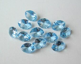 36 Vintage Aquamarine Blue Swarovski Navette Marquis Crystals 7x5mm