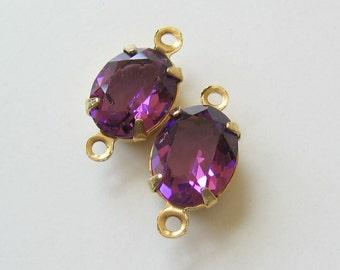 2 Amethyst Purple Swarovski Oval Crystals Set in Brass Connector 10x8 mm