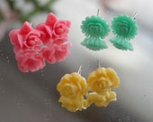 Girl EARRINGS - 3 Pair CABOCHON FLOWER Pierced Earrings