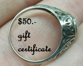 50.00 gift certificate for use in LOVEALWAYS,GALICIA store