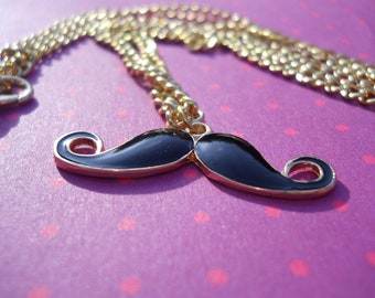 Black and Gold Enamelled Mustache Necklace Pendant Chain