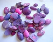 Pink and purple flat back cabachons mixed bag