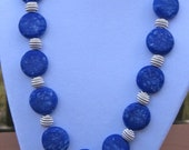 Blue Pebble Beaded Necklace, Beaded Jewelry, Blue and Silver Beaded Necklace, Unique Blue Jean Colored Silver Beaded Necklace