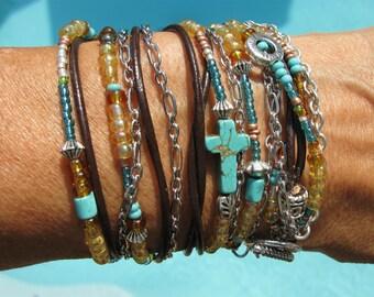 Leather Wrap Bracelet, Boho Silver.......Endless Leather Beaded Wrap