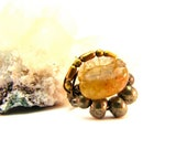 Rutilated Quartz Accelerator - Wire Wrapped Crystal Stone Ring - Size 9