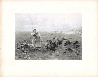 Old Lithograph Young Girls Feeding Turkey's