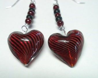 Red Heart Earrings with Black Stripes