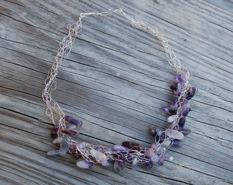 Sterling Silver Crocheted Purple Lavender Amethyst Necklace
