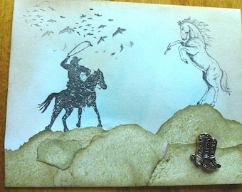 Arty Cowboy & Horse Note Card with Silver Cowboy Boots