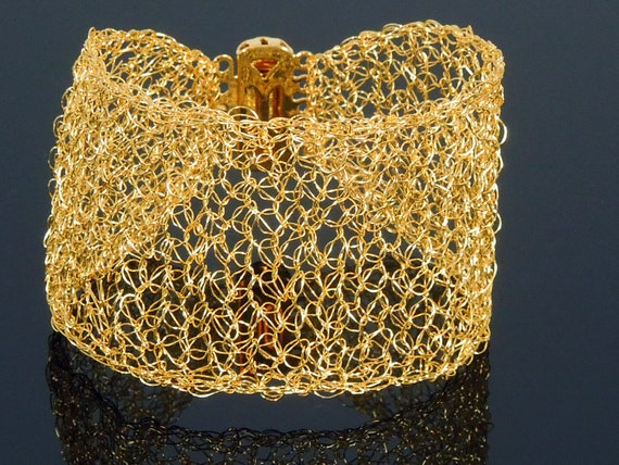 Crochet Wire Gold Lace Wide Cuff, Bridesmaids Gifts