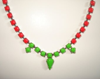 Color Block Neon Hot Pink and Neon Green Hand Painted Vintage Rhinestone Necklace, 19 Inches