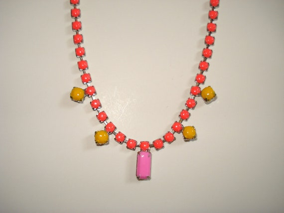 Exclusive Neon Coral, Sunflower Yellow and Pink Hand Painted Vintage Rhinestone Necklace, 14 7/8 Inches
