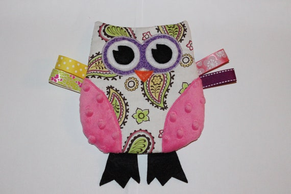 READY TO SHIP Owl Crinkle Toy in Pink Paisley