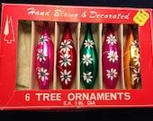 Vintage Hand Blown Drop Shaped Ornaments, 5 Count