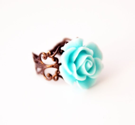 aqua blue cabochon 20 mm adjustable ring victorian style wedding jewelry bridal jewelry bridesmaids gift