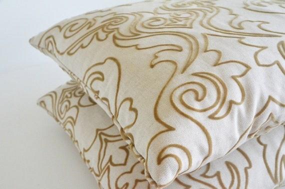 embossed velvet cotton ivory beige handmade lace pillow decorative modern patterned home decor bedroom decor pillows