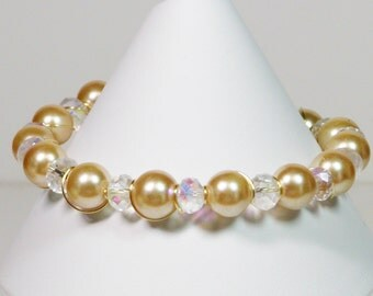 Wire Wrapped Pearl Bracelet, Crystal and Pearl Bracelet,  Wire Wrapped Bracelet, Golden Pearl Bracelet