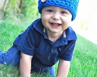 The Button Beanie- 4 Sizes- MANY COLORS