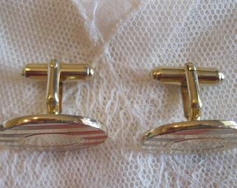 Retro Gold Oval Cuff Links - Unisex Gold Tone Cuff Links - Wedding Cuff Links