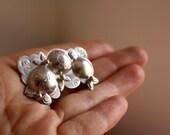 Round flower silver brooch, japanese inspired, blossom and spring brooch, Sakura, free shipping