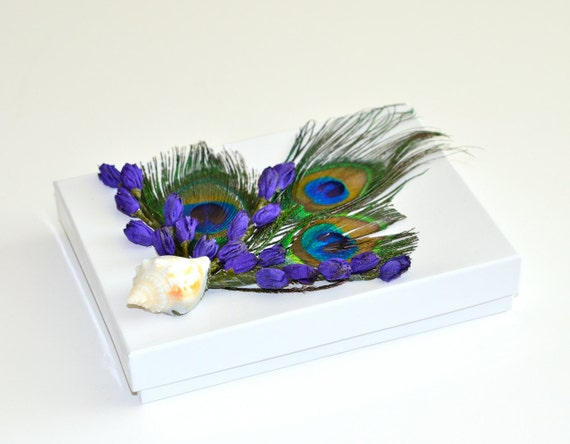 Lavender Peacock Feather Shell Jewelry Christmas Gift Box