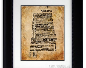 Alabama State Map Cities & Towns - Unique Vintage Style Typography Poster, original gift Family Christmas Gift Fathers Day gift for him
