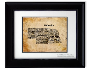 Housewarming gift ideas Nebraska State Map Cities & Towns - Unique Vintage Style Typography Print Christmas gift