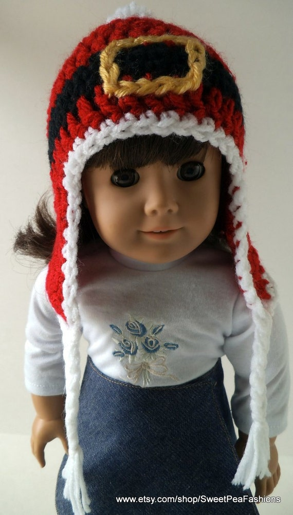 American Girl Crocheted Santa's Belt Ear Flap Hat