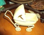 Antique Toy Metal Yellow Doll Baby Stroller Buggy Vintage 1930s Doll Child Toy