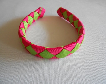 """Pink and green woven headband for American Girl and 18"""" dolls"""