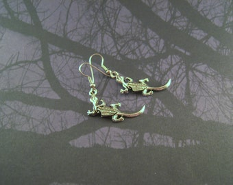 Moveable Silver Lizard Earrings