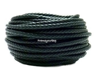 1m/ 39 in - 4mm Braided Genuine Leather Cord Black (European product)