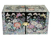 Lacquer ware inlaid new mother of pearl handcrafted jewelry case,jewel box  Butterfly and flower design