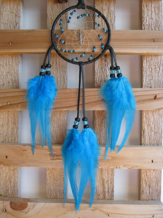 Black Deerskin Leather Dream Catcher with Turquoise Rooster Feathers