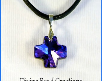 Swarovski Elements Austrian Crystal Heliotrope Cross Pendant Necklace Black Cotton Cord Magnetic Clasp Sterling