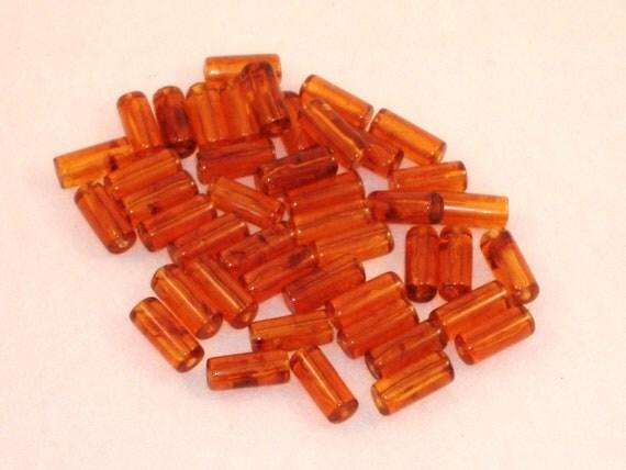 Amber Tube Beads, Acrylic - 19mm - Over 44 beads per bag - DESTASH