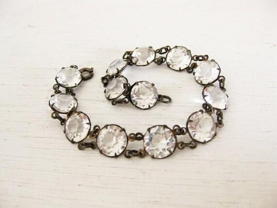 1930s bracelet. crystal clear stones. sterling silver. L'ESCALIER EN CRYSTAL.