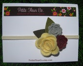 Wool Felt Roses Headband  - Cream, Light Grey, Mulberry with Light and Dark Green Burlap Leaves