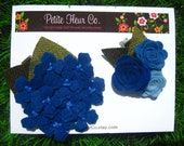 Flower Headband Set -Royal Blue, Cobalt and Blue Coloured Wool Felt Hydangea with Leaves - For baby to Adult