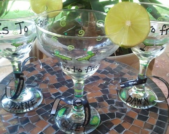 "Custom order sample three custom/personalized ""Cheers to friendship"" margarita glasses"