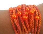 Hand-crochet  Rope Bracelet with orange beads, beach,boho, lolita,wristband,wriststrap